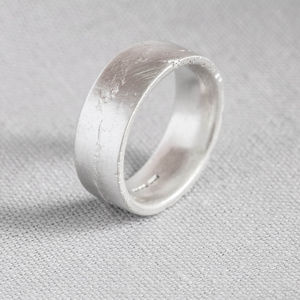 Sterling Silver Engraved Flat Sand Cast Ring - rings