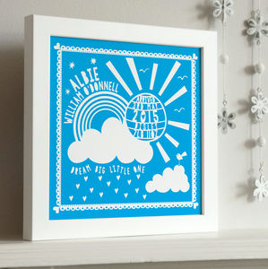 Framed New Baby Sunshine Print - christening gifts
