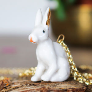 Porcelain Necklace Rabbit - necklaces & pendants