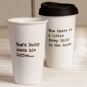 Personalised New Parent's Travel Mug - gifts for new dads
