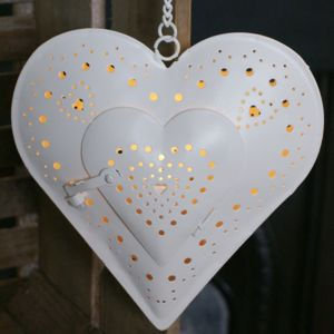Decorative Heart Hanging Tea Light Holder - lights & lanterns