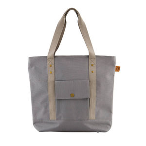 Grey Picnic Cool Bag With Leather And Metal Detailing