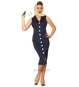 Vintage Style Pencil Dress Navy Buttoned