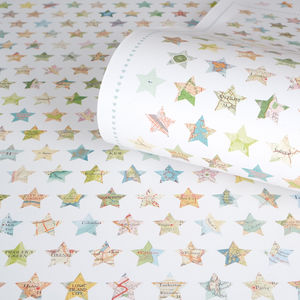 Map Stars Recycled Christmas Wrapping Paper - ribbon & wrap