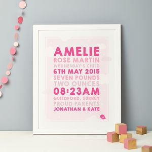 Personalised Clouds Baby Birth Print - posters & prints for children