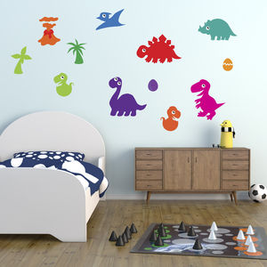 Dinosaurs With Eggs And Volcano Wall Sticker Pack - shop by price