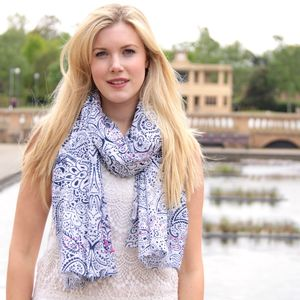 Embroidered Paisley Print Scarf - womens