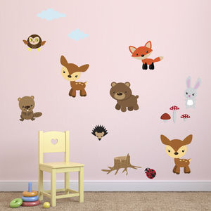 Forest Animals Fabric Wall Stickers