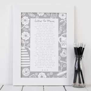 'A Letter To Mum' Poem Print - posters & prints