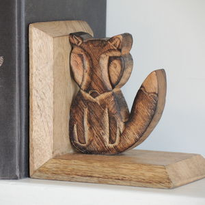 Carved Fox Bookends - bookends
