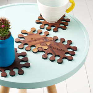 Personalised Solid Walnut Jigsaw Coasters - gifts by budget