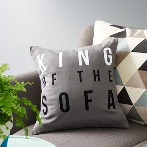 'King Of The Sofa' Cushion - winter sale