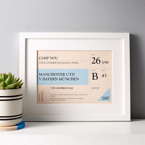 Personalised Retro Style Sports Ticket Print