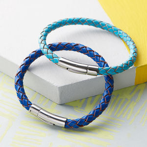 Luxury Bolo Leather Bracelet In Blue