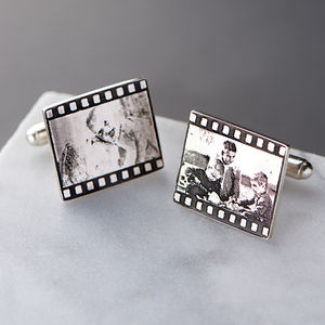 Negative Style Film Strip Silver Photo Cufflinks - gifts for him