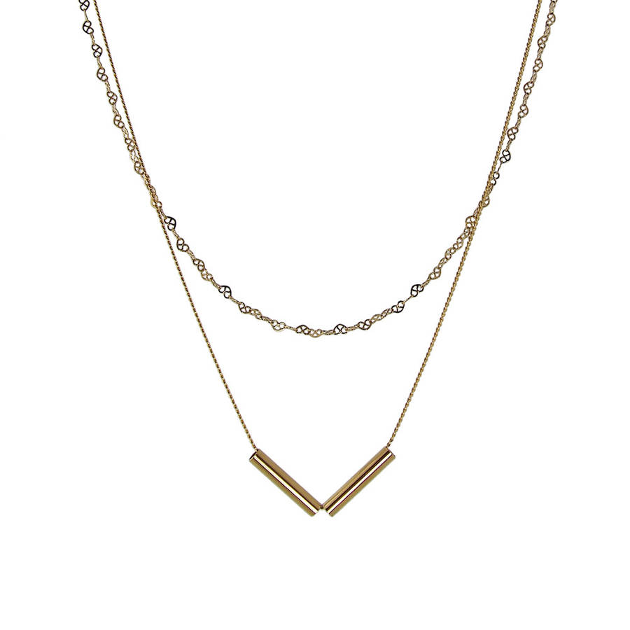 bar long plated gold vertical goldplated thin necklace pfs jewelry silver az layering bling