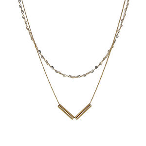 Layered Double Chain Gold Plated Necklace - layering necklaces
