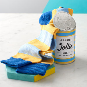 Striped Socks In A Can - stocking fillers