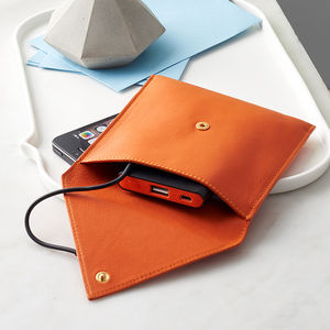 Leather Travel Phone Charger Wallet - gifts for fathers