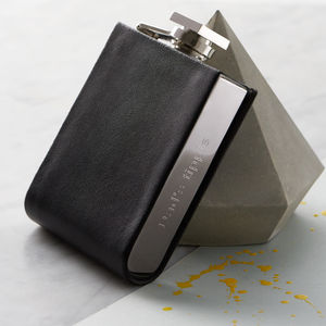 Engraved Hip Flask With Leather Detailing - wines, beers & spirits