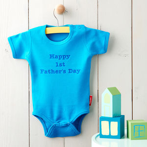 Personalised 'Happy 1st Father's Day' Babygrow