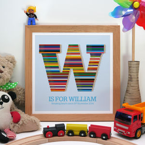 Personalised Childrens Initial Pencil Print