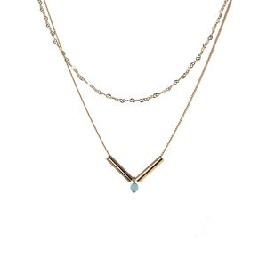 Layered Double Chain Necklace With Quartz Bead - layering necklaces