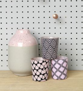 Set Of Three Geometric Pattern Pink Votives