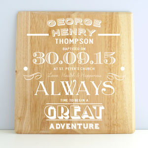 Personalised Baptism Wooden Print - christening gifts