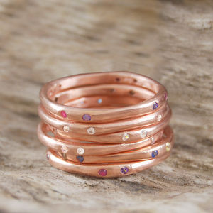 Rose Gold Assorted Birthstone Stacking Ring - rings