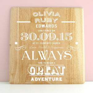 Personalised Christening Wooden Print - christening gifts