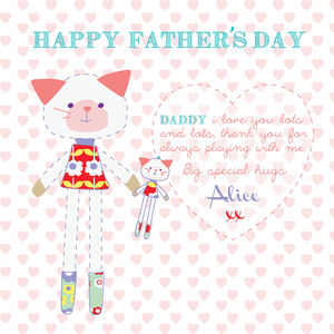 Happy Father's Day Kitty Card - personalised cards