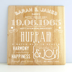 Personalised Golden Wedding Anniversary Wooden Print - posters & prints