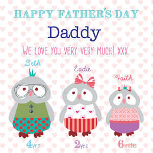 Happy Father's Day Owl Card - personalised cards