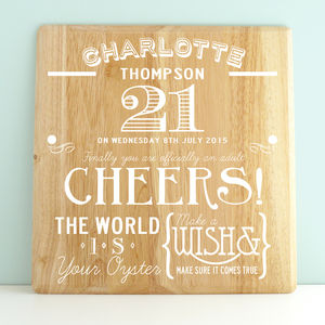 Personalised 21st Birthday Wooden Print - 21st birthday gifts