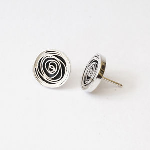 Oxidised Silver Spiral Earrings
