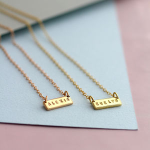 Personalised Names Bar Necklace - bridesmaid fashion