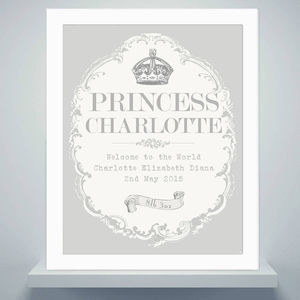 Framed Royal Baby Print Christening Or Baptism Gift - pictures & prints for children