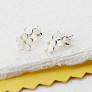 Sterling Silver And Enamel Daisy Earrings - new in wedding styling