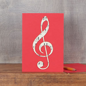 Vintage Music Treble Clef Card
