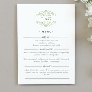 Eva Wedding Menu Cards