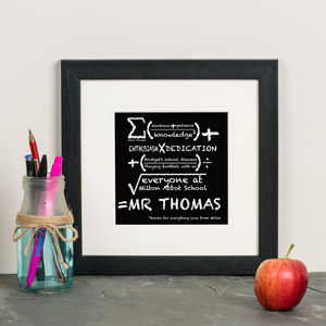 Personalised 'Teacher Sum' Framed Print - gifts for teachers