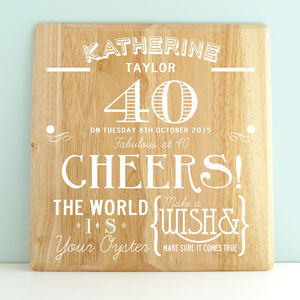 Personalised 40th Birthday Wooden Print