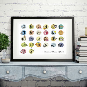 Children'S Educational Phonics Style Alphabet Print - pictures & prints for children