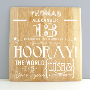 Personalised 13th Birthday Wooden Print
