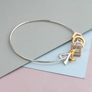 Personalised Mini Geometric Bangle - lucky charm jewellery