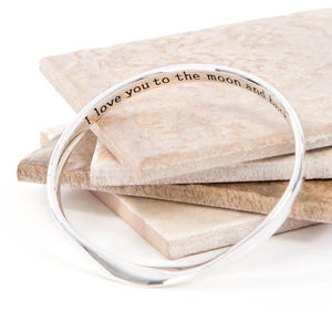 To The Moon And Back Hidden Message Bangle - bracelets & bangles
