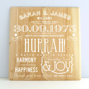 Personalised Ruby Wedding Anniversary Wooden Print
