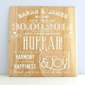 Personalised 1st Wedding Anniversary Wooden Print - posters & prints