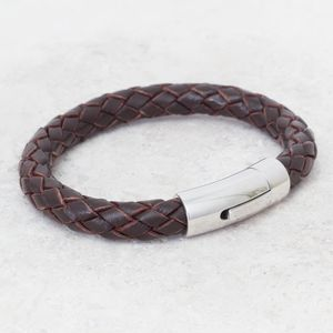 Chunky Personalised Woven Leather Mens Bracelet - bracelets